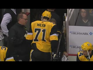Penguins' malkin forced to leave after awkward hit into boards | october 5, 2019