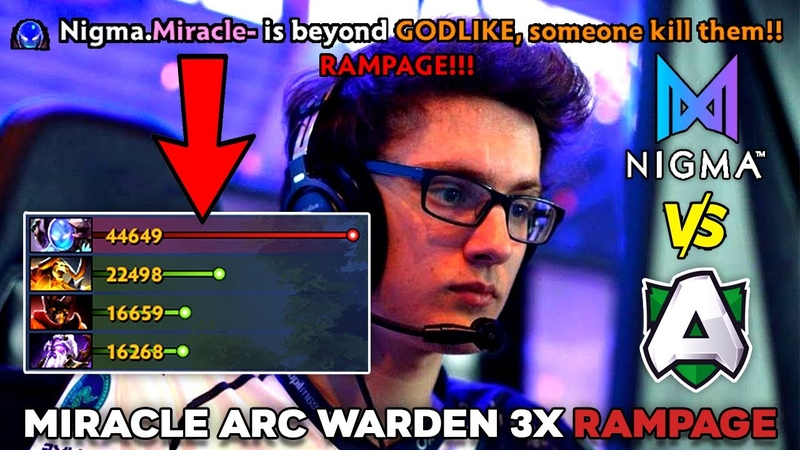 Miracle Arc Warden Perspective EPIC 3x Rampage WTF 45k Double Enemy Networth NIGMA vs ALLIANCE