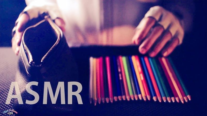 ASMR Pencils 🖍️Leather Zipper Pencil Case 😴NO TALKING for SLEEP