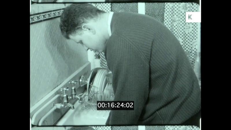 1950s UK Househusband Washing Dishes Home Movies