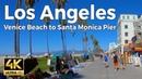 Los Angeles California Walking Tour Venice Beach to Santa Monica Pier 4k Ultra HD 60fps