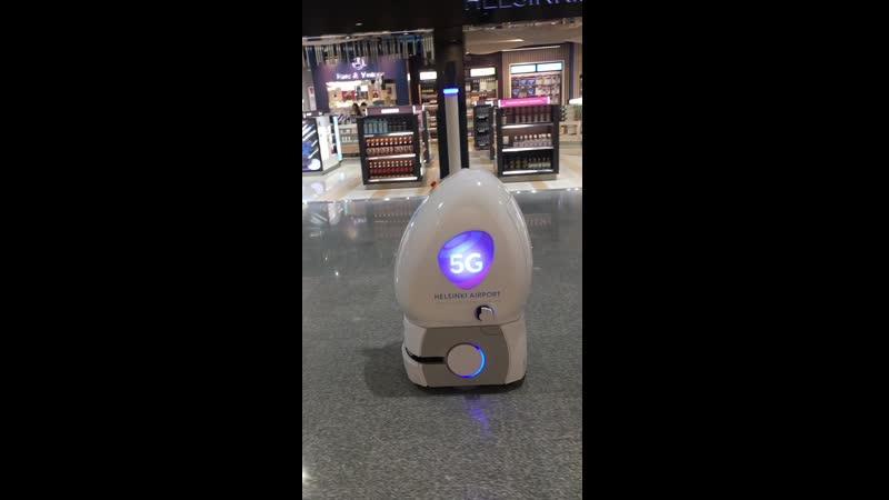 Робот-провожака. Аэропрт Хельсинки