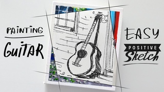 Guitar, Acrylic painting, Easy, Step by step