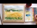 Speed painting из видео урока рисования акварелью Прованс. Пейзаж с подсолнухами