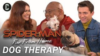 Tom Summers, Riley Archer, and Jacob Batalon Play with Therapy Dogs
