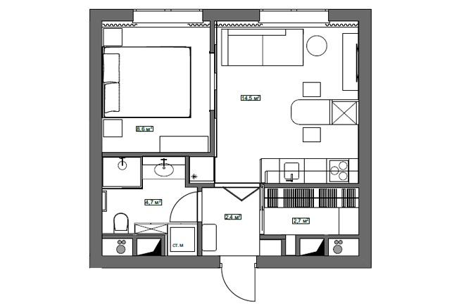 Интерьер квартиры 33 кв.