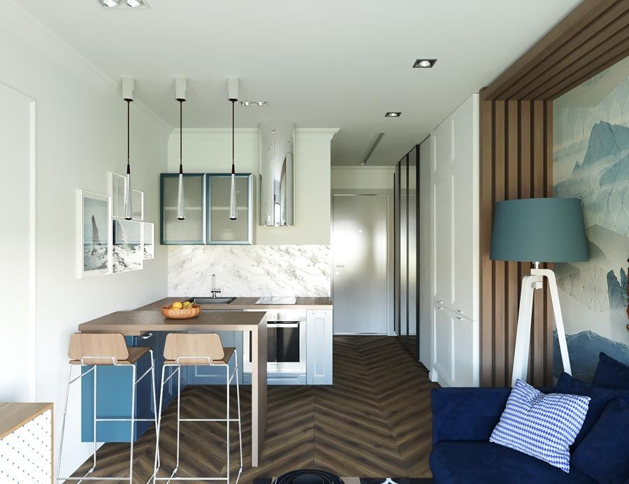 Проект комнаты в квартире-студии 24 м.