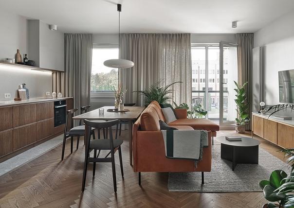 Открытая гостиная и стиль midcentury modern: модная квартира...