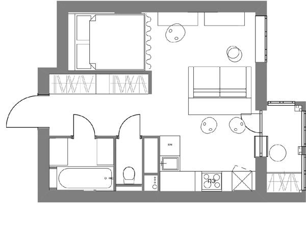 Концепт квартиры-студии 33 кв.