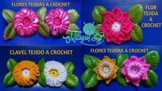4 Flores tejidas a crochet paso a paso para aplicar en gorros, boinas bufandas, y tapetes.