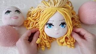 Вязаный паричок для куклы - ч.3
