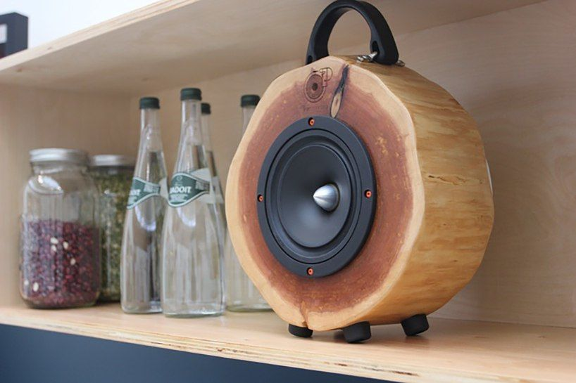 rockit log wooden speakers are made of recycled trees