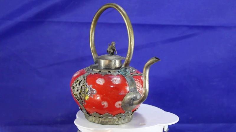 Чайник коллекционный фарфор металл дракон обезьяна 12 5 см Декоративный Фэн шуй украшение