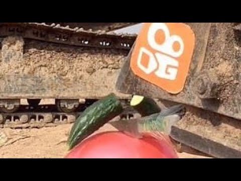 Digger driver slices cucumber without popping balloon