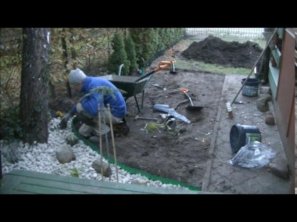 SDS Ogród, Zakładanie rabaty oraz trawa z rolki.
