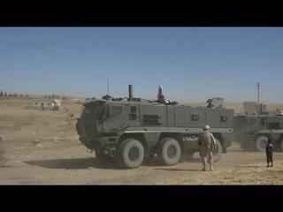 56th Russian   Turkish joint patrol in Ayn al Arab region, northeastern Syria