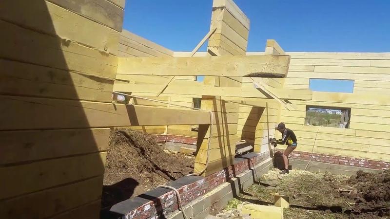 Обзор деревянной коробки из лиственницы 10 10 из бруса в 200 мм с несущей стеной Шлифовка